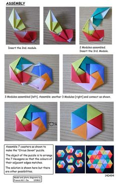6 Piece Hexagonal Coaster by Francis Ow. Photo diagrams.