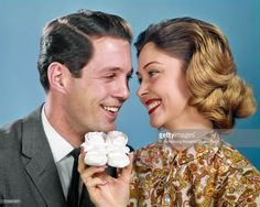 Stock Photo : 1960s SMILING COUPLE HEADS...
