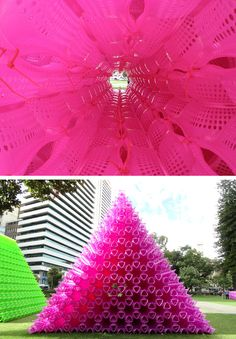 Korean artist Choi Jeong Hwa created three different cool large-scale art #installations and #sculptures at the Perth #Arts Festival last month. Pictured above is one of his two pyramids made of thousands of plastic shopping baskets. See more and other installation at collabcubed.