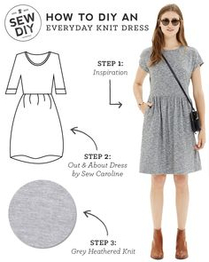 Outfit – Everyday Knit Dress Such a cute DIY fashion sewing tutorial idea! More free sewing patterns and ideas at .auSuch a cute DIY fashion sewing tutorial idea! More free sewing patterns and ideas at . Dress Sewing Patterns, Sewing Patterns Free, Free Sewing, Clothing Patterns, Skirt Sewing, Skirt Patterns, Coat Patterns, Blouse Patterns, Sew A Skirt