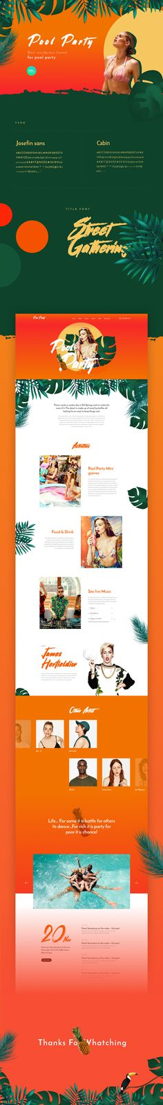 Pool Party – Landing Page For Free Design template on Behance