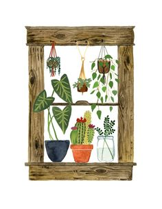 My Window Art Print House Plants Cactus by LittleTruthsStudio