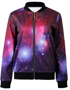 Galaxy Starry Printed Loose Zip Sweatshirt Jacket