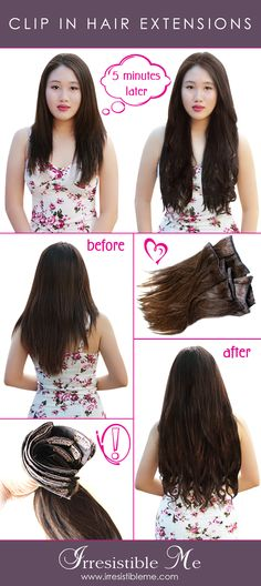 Add length and volume in just minutes with Irresistible Me 100% human Remy clip-in hair extensions and make a dramatic change without any damage to your hair. They can be dyed, cut and heat styled. You can choose the color, length and weight. Click to get 20% off on your first order!