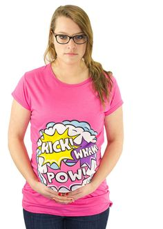 Kick Pow Wham funny Maternity T-Shirt Maternity Clothes Top Full Color comic book style Classic Rockabilly Geek Rock Bamboo SUPER SOFT Cute Maternity Shirts, Funny Pregnancy Shirts, Pregnancy Humor, Funny Maternity, Maternity Fashion, Maternity Clothing, Maternity Style, Maternity Photos, Geek Baby