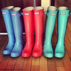 Hunter boots... MUST get a pair of these for all 3 of us someday!