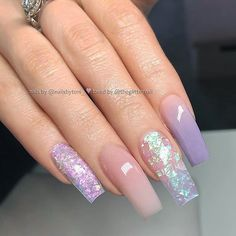 TheGlitterNail Get inspired! on Nude, Lilac-Grey Ombre, Mylar Foil and Flakes on tapered Square Nails Nail Artist: nailsbytoni_ her for more gorgeous Square Acrylic Nails, Summer Acrylic Nails, Best Acrylic Nails, Nail Swag, Aycrlic Nails, Hair And Nails, Coffin Nails, Nail Nail, Mylar Nails