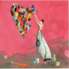 Carte Gaëlle Boissonnard - Le coeur multicolore - 14x14 cm - planete - images.com