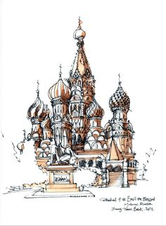 Cathedral of St. Basil the Blessed, Moscow, Russia / sketch by Joungyeon, Bahk (Grid-A architecture) grid-a.net