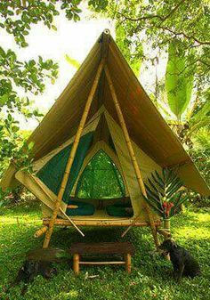 Browning Camping Privacy Shelter – Michael Johnson Browning Camping Privacy Shelter Finca Exotica Jungle Tents and Cabins Carate, Costa Rica (via Beautiful tropical cabin and tent on Costa Rica rainforest beach) Bamboo Art, Bamboo Crafts, Glamping, Bamboo House Design, Bamboo Building, Jungle House, Bamboo Structure, Bamboo Construction, Bamboo Architecture