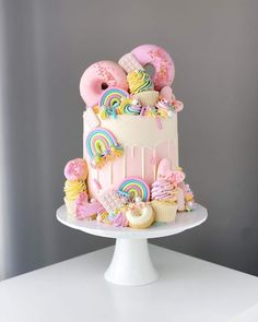 Cotton Candy Cakes, Girl Birthday, Donuts, Hot Pink, Mermaid, Rainbow, Cute, Frost Donuts, Rain Bow