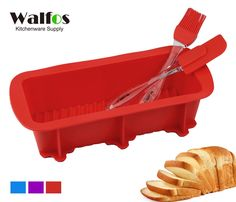 Walfos Nonstick Silicone Bread and Loaf Pan Set of 3 Colors Choices, No odor, Easy baking mold for Homemade Cakes, Breads, Meatloaf and quiche (1, Red) * Awesome product. Click the image at  - Baking pans