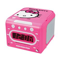 """Hello Kitty AM/FM Stereo Alarm Clock Radio with Top Loading CD Player. * Top Loading CD Player * CD-R/RW Compatible * Skip/Search Forward and Back * Repeat and Random Play * Programmable Memory * AM/FM Stereo Radio * FM Stereo Indicator * Multi-function 0.6"""""""" Red LED Display with Dimmer * Wake to CD, Radio or Alarm * Power, Repeat, Program and Random Indicators * Sleep Function * Snooze Function * Power: Unit - AC 120V 60Hz * Battery Back-up (1 x 9V/not included)"""
