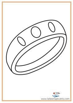 fichas para imprimir y colorear, pintar, anillo, joya, aro
