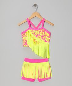 Neon Yellow & Pink Fringe Crop Top & Dance Shorts | Daily deals for moms, babies and kids