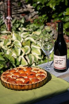 Central Otago apricot flan, with a fine Three Miners Wine - the perfect dessert.