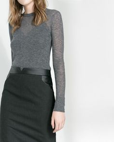 ZARA - WOMAN - FAUX LEATHER COMBINATION SKIRT