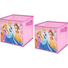 Storage Cube Box Organizer Bin Basket 2 Pieces Container Pink Disney Princess
