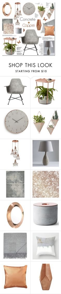 """Concrete & Copper - Home Decor (282)"" by anyasdesigns on Polyvore featuring interior, interiors, interior design, home, home decor, interior decorating, Lyon Béton, Umbra, Momeni and Tempaper"