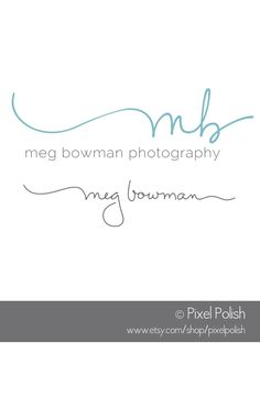 Handwritten 2 initials logo & coordinating signature line for Meg Bowman Photography.