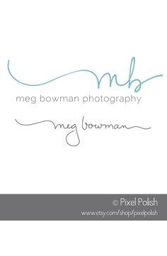 Handwritten 2 initials logo & coordinating signature line for Meg Bowman Photography.