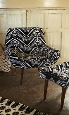 Ikat chair - Plümo Ltd.  60s style armchair upholstered in chic black & white ikat print cotton velvet. Polished mango wood legs. Matching foot stool available / sold separately. Fairtrade product. seat H35cm arm H48cm total H78cm W74cm D57cm.