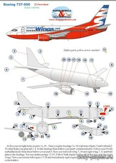 """Boeing 737-500 Models made of paper and cardboard free download. Paper charts and templates for building layouts tanks, planes, cars, ships with their own hands. Papercraft, paper model free download - «Only Paper"""""""
