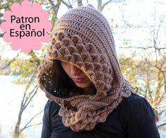Patrón CROCHET Capucha en Punto de Cocodrilo - Patrón de crochet electronico - Permiso para vender artículos terminados. $5,00, via Etsy.