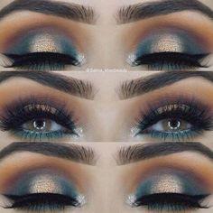 Gorgeous Gold and Green Eye Makeup Look #makeuplooksfall #eyeshadowspalette #goldeyemakeup #greeneyemakeup #gorgeousmakeup