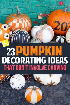 23 Pumpkin Decorating Ideas That Don't Involve Carving - Skip carving this year and start some new Halloween or Fall traditions with the family.