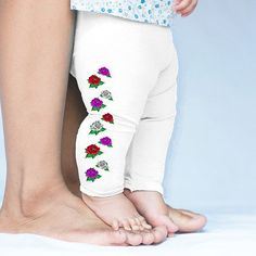 Coloured Roses Pattern Baby Leggings Trousers
