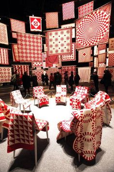 I would have loved to go to this quilt show.  Red and white quilts are timeless.
