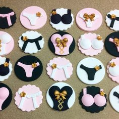 Sexy fondant lingerie cupcake toppers. #bachlorette #lingerie #fondant #cupcaketoppers