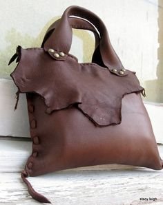 Chocolate Deerskin Leather Bag with Natural Edges
