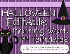 Brighten your room during HALLOWEEN with these editable PowerPoint templates that you can use to display morning work or seat work instructions. $