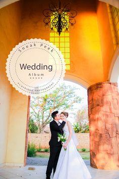 a beautiful photo with the couple standing n the chapel @La Merveille wedding venue Photographer Daniel Meyer
