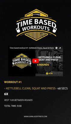 Time Based Workouts- Kettlebell Cleans, Squat and Press. #kettlebells #tbw