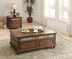 Honey Brown Wood Coffee Table Set w/Drawers