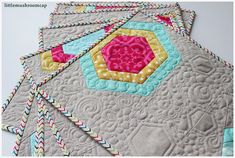 Quilted placemats_ free motion quilting_hexagon. Uses hex n more ruler
