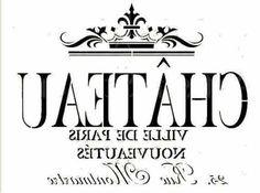 """""""Chateau Ville De Paris"""" in reverse image Vintage Labels, Vintage Ephemera, Printable Labels, Printables, Printable Fabric, Printable Art, Wax Paper Transfers, Image Transfers, Diy Image"""