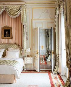 Bedroom, Ritz, Paris traditional French decorating bedroom. canopy, swag treatment, blue and white. Custom draperies and bedding in this style DesignNashville  message us for custom designs