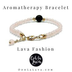 Rose Quartz & Lave stone diffuser bracelet by Ooh La Lava. #essentialoiljewellery #essentialoils #diffuserjewellery