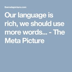 Our language is rich, we should use more words... - The Meta Picture