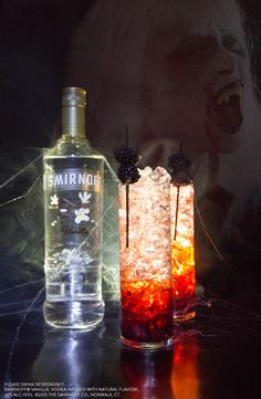 This Halloween mix up a drink that all the vampires in your life will love. This easy delicious cocktail pairs perfectly with bloody fangs.