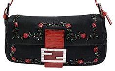 50d15071adeb Fendi Black Beaded Baguette Rhinestone Clasp  amp  Buckles Handbag Shoulder  Bag. Get one of