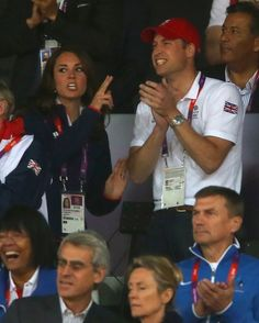 LONDON, ENGLAND - AUGUST 04:  Catherine, Duchess of Cambridge and Prince William, Duke of Cambridge cheer on the athletes as they compete on Day 8 of the London 2012 Olympic Games at Olympic Stadium on August 4, 2012 in London, England.