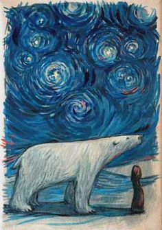 Another starry night with a polar bear - by Lucy Campbell