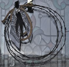 historical State of Jefferson Barbed Wire wreath with bandana , concho and horse hair