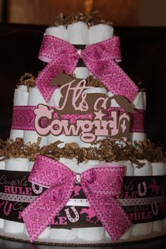 It's a Cowgirl Diaper Cake; Western Baby Shower Decor