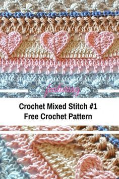 Crochet Mixed Stitch Free Pattern- Crochet Sticthes Crochet Mixed Stitch is a gorgeous pattern with a beautiful and versatile design, a combination of stitches and colors that create an amazing texture. Baby Afghan Crochet, Manta Crochet, Crochet Squares, Crochet Blanket Edging, Crochet Afgans, Crochet Cable Stitch, Crochet Edgings, Crochet Borders, Baby Afghans